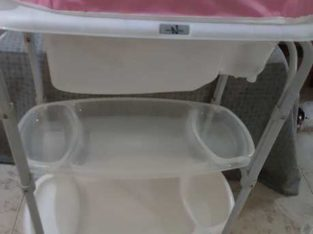 Baby changing table with bath tub