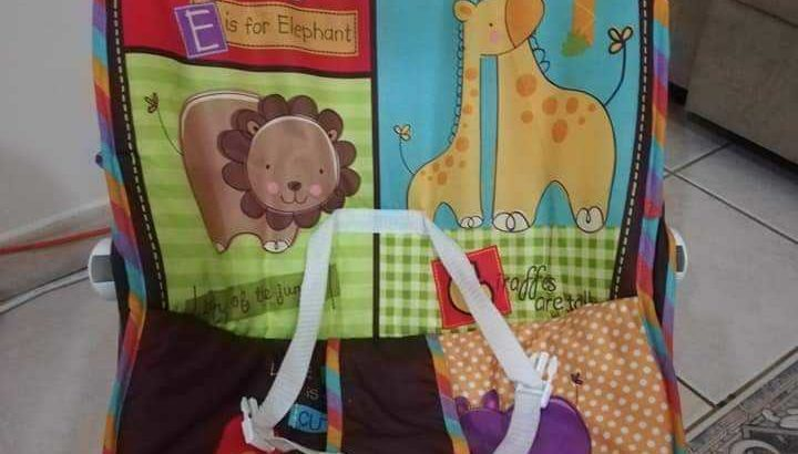 Infant car seat and baby bouncer with vibrator and toy hanger