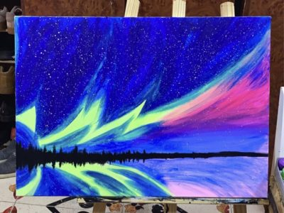 Northern light acrylic painting
