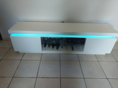 Long White TV Table with Remote