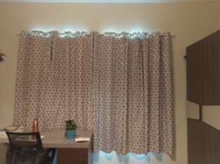 Long Brown Curtain with Rod
