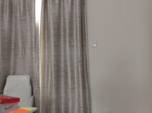 Long grey Curtain with Rod