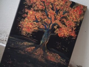 acrylic oil painting A bright tree in in the dark